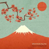 Blossom cherry or sakura mountain invitation postcard
