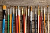 Many artist brushes for use with any media like acrylic, watercolor and others