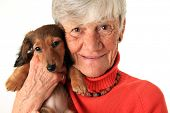 Senior woman holding her new dachshund puppy