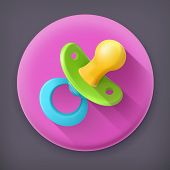 Pacifier long shadow vector icon