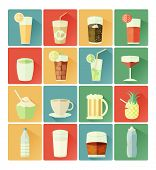 flat icons drink set