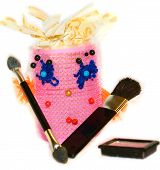 Curlers Female Gathered To Do Makeup With A Brush For Blush, Brushes And Eye Shadows For Eyes