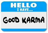 picture of karma  - Good Karma Name Tag Sticker Fate Destiny Future - JPG