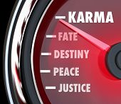 stock photo of karma  - Karma Speedometer Measure Level Fate Destiny Justice - JPG