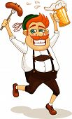 picture of beer-belly  - Beer party man with sausage and beer vector illustration - JPG