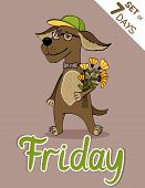 pic of weekdays  - Friday dog weekdays hipster vector illustration calendarset - JPG