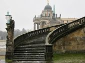 stock photo of winter palace  - Stairway of The Sanssouci Palace in winter - JPG