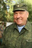 BUDIHINO, RUSSIA - AUG 26, 2010: Vladimir Shamanov - Commander-in-Chief Russian Airborne Troops duri