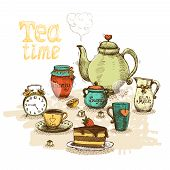 picture of alice wonderland  - Tea time still life set vector illustration - JPG