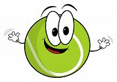 Happy Cartoon Tennis Ball Character