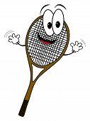Happy Cartoon Tennis Rack Character