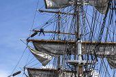 Large Mast Of An Old Sailing Ship