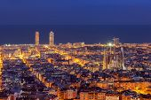 Barcelona Skyline At Night
