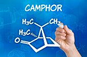 Hand with pen drawing the chemical formula of camphor