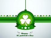 Happy St. Patrick's Day celebrations concept with sticker, tag or label with beautiful shamrock leaf