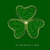 Happy St. Patrick's celebrations flyer, banner or poster with beautiful Irish lucky shamrock leaf on green background.
