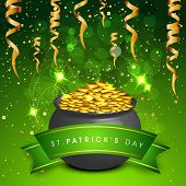 Happy St. Patrick's Day celebrations concept with beautiful traditional pot with full of gold coins on green background.