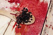 pic of elderberry  - Healthy elderberry fruit on a wooden spoon - JPG