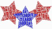 Word Cloud Labour Day Related In Shape Of Stars