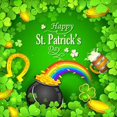 illustration of Saint Patricks Day background with clover leaf