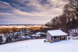 pic of hughes  - Winter view of John Hughes Cabin and Mount St - JPG