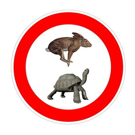 picture of the hare tortoise  - Hare and galapagos turtle inside speed limit symbol in white background - JPG