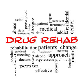 picture of opiate  - Drug Rehab Word Cloud Concept in red caps with great terms such as patients addicts help and more - JPG