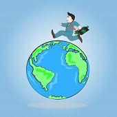 Businessman Carrying Briefcase Run Around A World