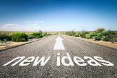 An image of a road to the horizon with text new ideas