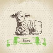 Vintage Easter background with lamb.
