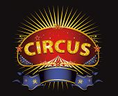 Fantastic red circus sign. A circus sign in the night for your entertainment