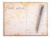 Old Paper Postcard - Hello World