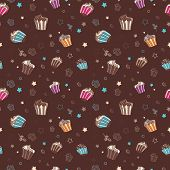 Vector pattern with muffins