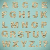 Alphabet From Crushed Paper, With Gradient Mesh, Vector Illustration