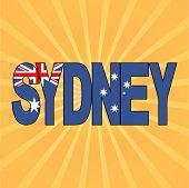 Sydney flag text with sunburst vector illustration