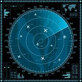 Blue radar screen with planes