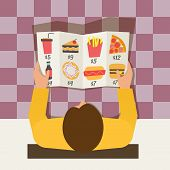 Lunch time. Man ordering meal in fast food cafe. Menu and vector icons in flat design.
