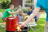 Party With Barbecue In A Garden