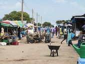 BOR, SOUTH SUDAN-OCTOBER 30 2013: Unidentified people shop in the open air market in Bor, South Suda