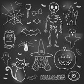 Halloween hand drawn doodles over black board eps 10