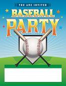 Baseball Party Flyer Illustration