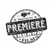 Film premiere grunge rubber stamp