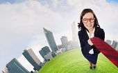 Top view of businesswoman pulling tie of boss
