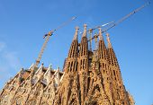 Barcelona, Spain - August 26, 2014: La Sagrada Familia, The Cathedral Designed By Antoni Gaudi, Whic