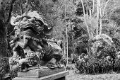 Bronze lion chinese statue stand.