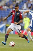 BARCELONA - AUG, 17: Armando Izzo of Genoa CFC in action during a friendly match against RCD Espanyol at the Estadi Cornella on August 17, 2014 in Barcelona, Spain