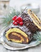Yule log .traditional christmas dessert