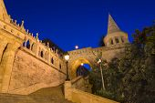 The Fisherman's Bastion Budapest Hungary Illuminated At Night