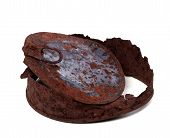 Old Rusty Tin Can On White Background