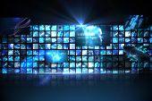 Digitally generated Wall of digital screens in blue
